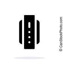 Smart watch back view simple icon on white background.