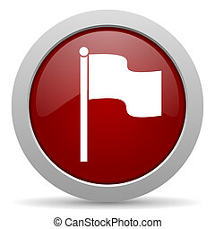 flag red glossy web icon