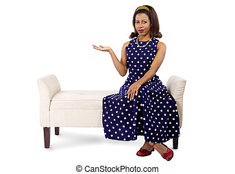 Black Female Advertising in a Polka Dot Dress - young black...