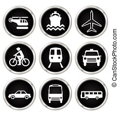 Transport Icons - Black transport related icon set isolated...