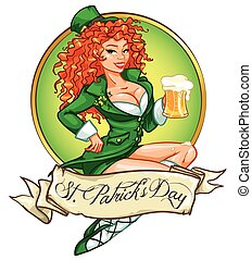 Beautiful Irish girl with beer - Beautiful leprechaun girl...