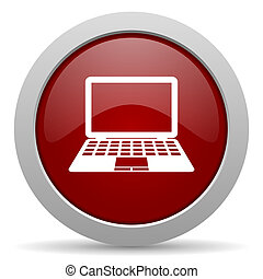 computer red glossy web icon