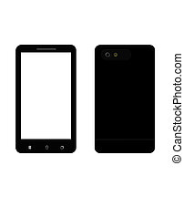 black smart phone isolated
