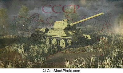 Tank T 34 take aim at the camera - Legendary russian tank T...