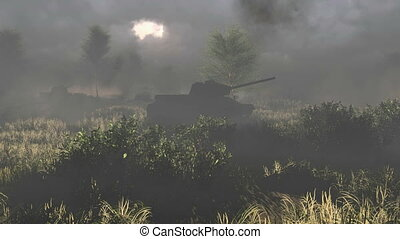 Tanks T34 crossed the battlfield - Historical reconstruction...