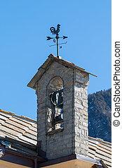 montagna, vecchio, tempo, chiesa, piccolo, gallo,  belltower