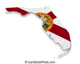 Geographic map and flag of Florida - Geographic border map...