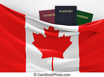 Travel and tourism in Canada, with assorted passports.