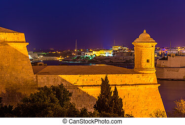 Fortifications of Valletta at night - Malta