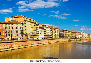 View of Pisa over the River Arno - Italy