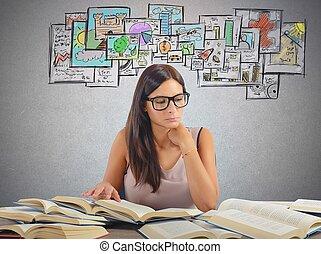 Girl studying academic subjects - Girl studying all academic...