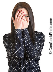Shy Girl - Shy girl covering up her face with her hands,...