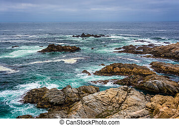 Rocks and waves in the Pacific Ocean at Garrapata State...