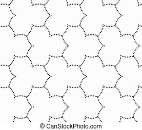 Gray dotted three pedal pointy flower grid - Seamless...