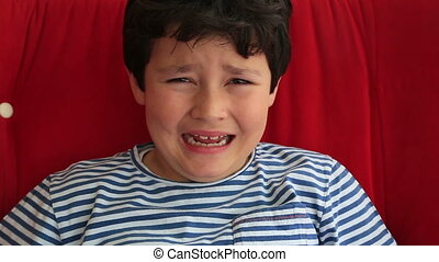 Upset child crying - Portrait of a crying little boy