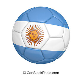 Soccer ball and Argentine flag - Soccer ball, or football,...
