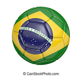 Soccer ball and flag of Brazil - Soccer ball, or football,...