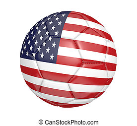 Soccer ball with United States flag - Soccer ball, or...