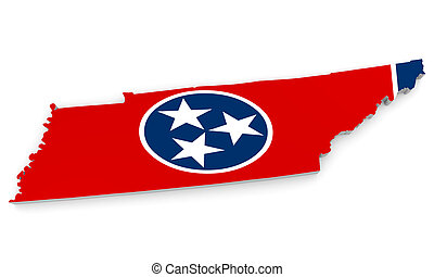 Map and flag of Tennessee