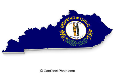 Geographic map and flag of Kentucky - Geographic border map...