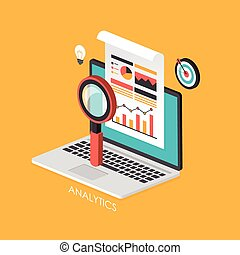business concept 3d isometric infographic with laptop...
