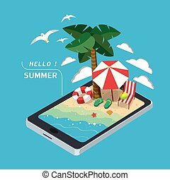 summer recreation concept 3d isometric infographic with...