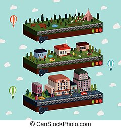 lovely city and outskirts scene 3d isometric infographic...