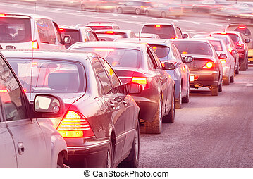 Cars stand before the trafficlight. - Cars stand before the...