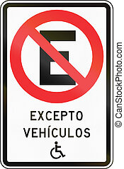 No Parking Except Disabled in Chile - Chilean traffic sign:...