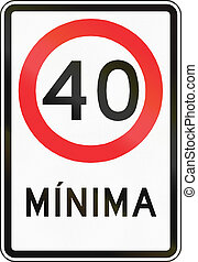 Minimum Speed In Chile - Regulatory road sign in Chile:...