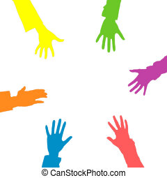 Hands - Illustration of hands of the different colours...