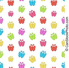 Seamless Pattern with Multicolored Hand Drawn Butterflies