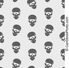 Seamless Texture with Human Skull, Scary Background for Halloween