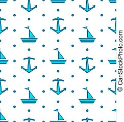Seamless Pattern with Sail Boats and Anchors, Nautical Blue Background