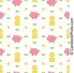 Pattern with Moneybox, Bank Notes - Illustration Seamless...