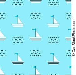 Seamless Pattern Sail Boats