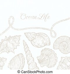 Vector background with hand-drawn sea shells and rope. -...