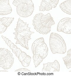 Seamless pattern with hand drawn sea shells. EPS 10 vector...