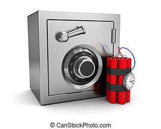 safe and dynamite - 3d illustration of steel safe and...