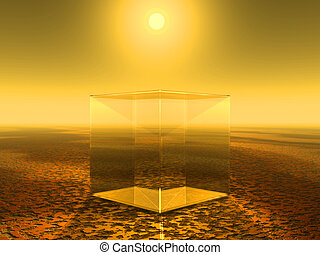 glass cube in desert under sunny sky - 3d illustration
