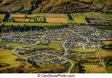 Aerial view of a residential community
