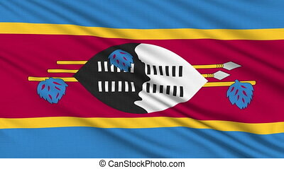 Swaziland Flag, with real structure of a fabric
