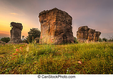 Mor Hin Khao or Stonehenge of Thailand in the morning - The...