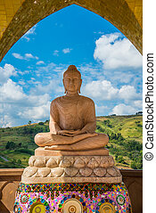 Buddha on the mountain. - Buddha in the temple on the...