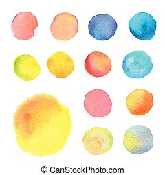 set of round watercolor stains in different colors