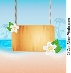 Wood frame on rope - Summer background.Tropical sea and...