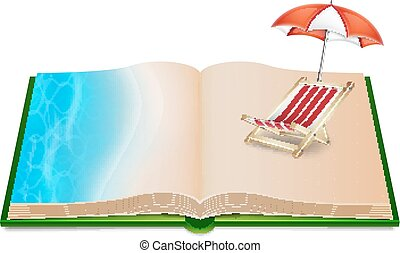 Open book with umbrella and deck chair inside. EPS10 vector