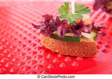 One Canape with Healthy Greens, Close Up - One Canape with...