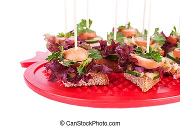 Canapes with Bread, Salad, Parsley, Cucumber and Sasugaes -...