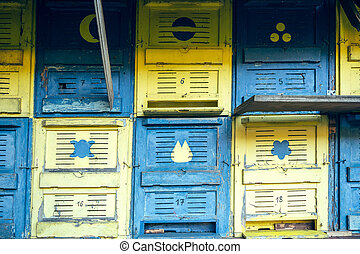 apiary - A two-tone apiary in nature with numbers